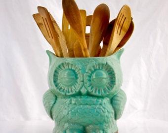 Kitchen utensil holder, owl decor, cooking gift, large utensil crock, handmade pottery, housewarming gifts, kitchen decor
