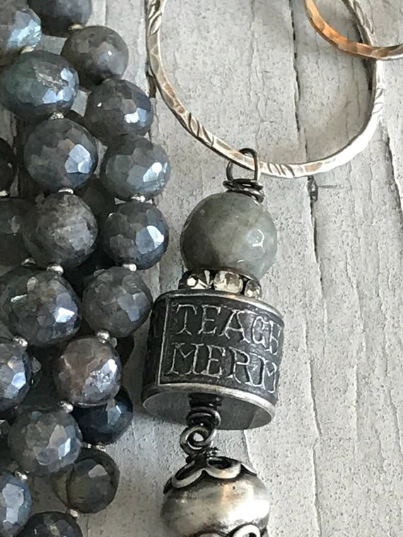 """Mermaids Song. One long strand of labradorite with """"tach me to hear the mermaids sing"""" artisan bead and sterling silver tassel. By ladedAH!."""