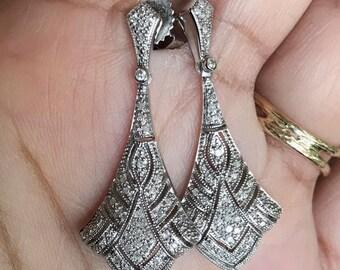 Diamond edwardian style fan shaped dangle earrings