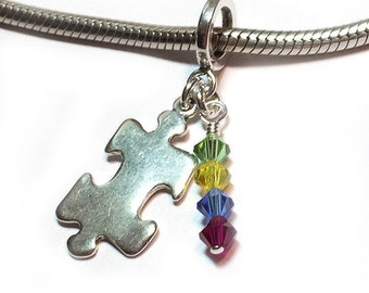 Autism Awareness Jewelry Charm Swarovski Crystal