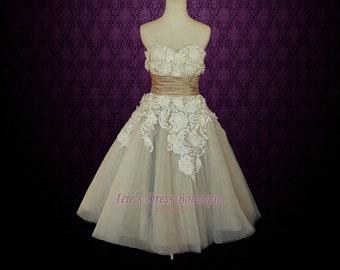 Retro Vintage 50s Mocha Sweetheart Short Tea Length Wedding Dress with Daisy Flower Applique | Shaunte