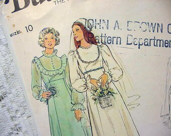 Retro Flower Power Vintage Bridal / Bridesmaid Gown Sewing Pattern Butterick 4887  1970s Size 10