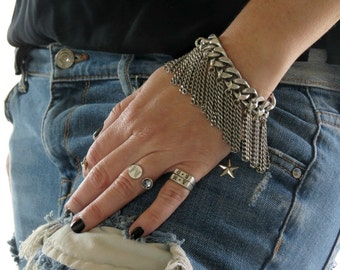 Chunky Curb Chain, Womens Silver Chain Bracelet, Rock Style Chain, Curb Chain Bracelet, Silver Chain Bracelet, Silver Link Bracelet