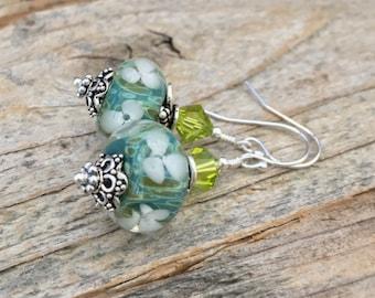 Lagoon Blossom Earrings, Boro lampwork, sterling silver, borosilicate glass earrings, tropical earrings, glass flower earrings