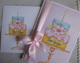 Mother's Day Card - Happy Mother's Day MOM - Mom, Love you Mum, Love you Mom, Best Mother Ever, Cake, Present, Butterflies