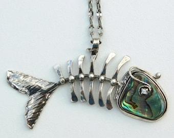 Fishbone, Abalone, mother of pearl, Pendant
