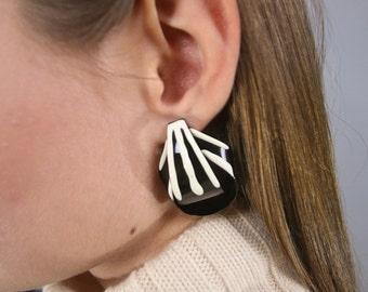 Oversized Abstract Earrings / 80's Sculptural Earrings / Bold Statement Earrings / Costume Jewelry / Fashion Earrings / Dangle Ear