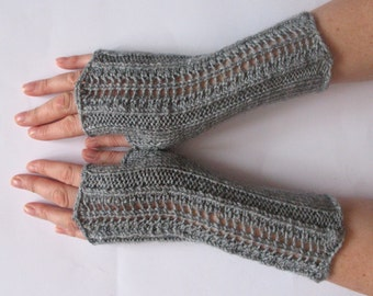 """Fingerless Gloves Gray 9"""" Mittens Arm Warmers Acrylic"""