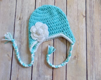 Newborn Baby Girl Hat, 0-3 Month Baby Beanie, Knit Earflap Hat, Blue and White Flower Hat