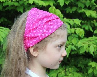 Baby Girl Kid Polka Dot Flowered Headband Hair Wear Accessories Headscarf Bandanna Flower