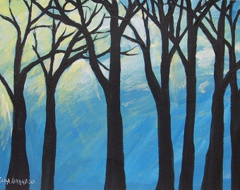 Tree painting, acrylic tree painting on paper