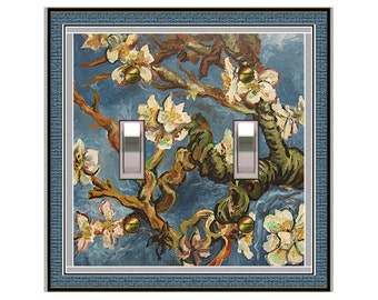 1768x Van Gogh Blue Blossoms - mrs butler switch plate covers -