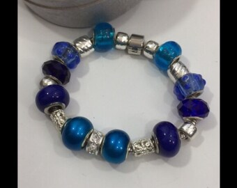 Blue Skies Smilin' at Me! Blue Euro Bead Bracelet Hand Crafted