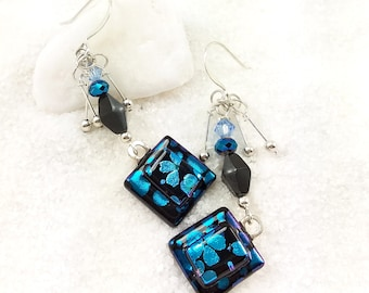 Fused Dichroic earrings, dichroic glass jewelry,sakura blossoms,dichroic beads,dichroic earrings,Hana Sakura,handmade jewelry, blue earrings