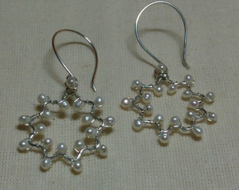 Bahai Jewelry Freshwater Pearl Nine Pointed Star Sterling Silver Wirewrapped Earrings Handmade Baha'i Star Symbol Gemstone Earrings