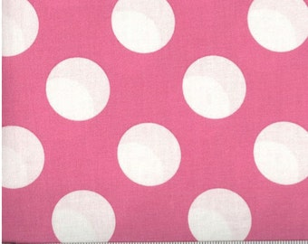 Bigger Dot Pink with White Polka Dots Cotton Fabric