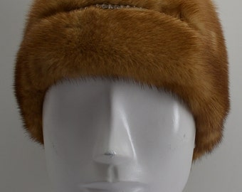 Whiskey Mink Fur Headband with Rhinestones new made in the usa