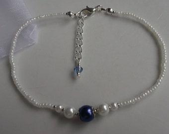 Something blue anklet, blue pearl anklet, ankle bracelet, stretch anklet, beaded anklet, bridal anklet, bridal jewellery, beach anklet