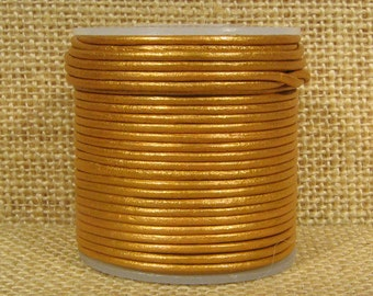 1.5mm Round Indian Leather - Old Gold Metallic - 231