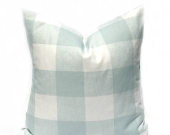 15% Off Sale Euro Pillow Cover, Euro Sham, Buffalo Check Pillow, Green Pillow , Spa Green Blue Pillow , Buffalo Check, Decorative