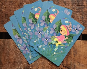Vintage Kitsch Elf Playing Cards - Set of 6