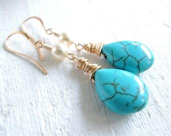 Turquoise and Pearl Earrings Boho Wedding Bohemian Bride Blue Stone Gold Dangle Earrings White Pearl Earrings Gold Wire Wrapped Boho Style
