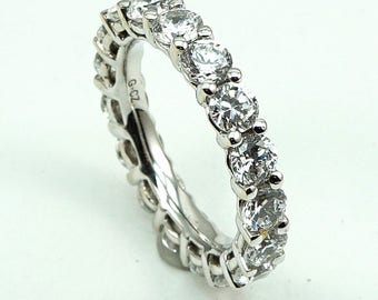 14K White Gold Engagement Eternity Band Ring - All stones are CZ