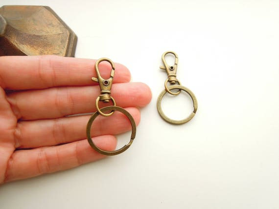 2 Bronze Key Rings with Clasps, Swivel fobs with Keyrings, Blank Bronze Key Ring Clasps, DIY Key ring, DIY Planner charms, Zip pull etc
