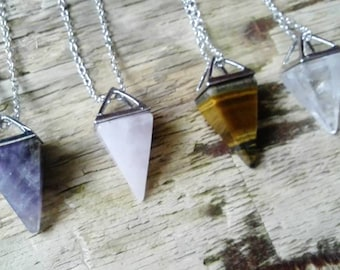 Gemstone Pendulum pendants - divination jewellery dowsing pendant crystal gemstones witch wiccan pagan spirituality yoga