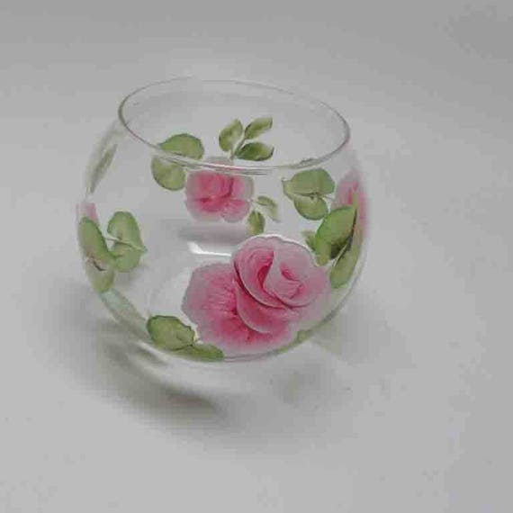 Hand Painted Rose Candle holder