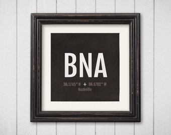 Nashville Airport Code Print - BNA Aviation Art - Tennessee Airplane Nursery Poster, Wall Art, Decor, Travel Gifts, Aviation Gifts