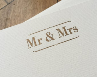 Mr and Mrs note cards set letterpress printed wedding gift thank you cards
