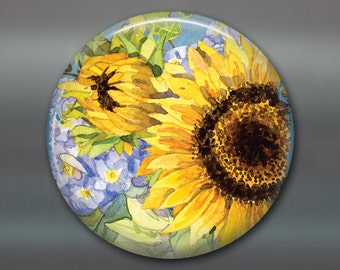 """3.5"""" large sunflower magnets for fridge - sunflower decorations for kitchen - cute gift ideas for gardeners MA-351"""