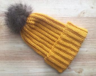Ribbed crochet beanie, slouchy beanie, extra slouchy beanie, folded brim, outdoor beanie, winter beanie, beanie with pom pom