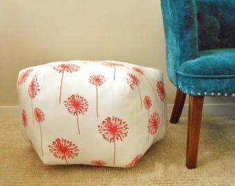 Coral Dandelion Pouf / Foot Rest / Floor Pillow / Round Ottoman pillow / Floor Cushion / Fabric Foot Stool / College Student Gift