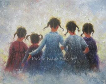 Five Sisters Art Print, five girls, pigtails, wall art prints, five loving sisters, sisterhood, best friends, friends, Vickie Wade Art