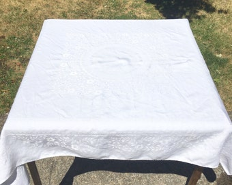 Plain White Vintage Linen Tablecloth Square Table Cloth