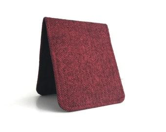 Super Thin Billfold Wallet / Red Herringbone Cotton / Vegan Wallet