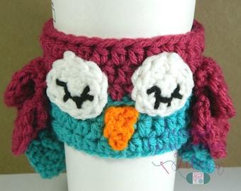 Owl coffee cozy - crochet owl cozy - owl cozy - owl love gift - coffee cozy - owl tea cozy - crochet owl tea cozy - tea cozy - coffee gift