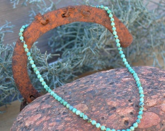 Vintage Turquoise, petite rondelle beaded necklace, 14K gold