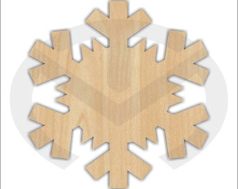 Snowflake - 01688- Unfinished Wood Laser Cutout, Wreath Accent, Door Hanger, Ready to Paint & Personalize, Various Sizes
