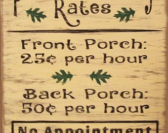 Porch Therapy Rates Humerous Primitive Rustic Country Wood Sign Home Decor