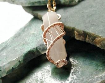 Rose Quartz Point Necklace - Pink Quartz Crystal Necklace - Wire Wrapped Pendant - Love Crystal Necklace - Rose Gold Pink Quartz Necklace