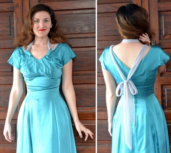 Sea Siren Dress | vintage 50's teal satin cocktail dress crinoline