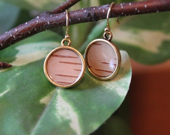 Dainty Birch Bark Earrings