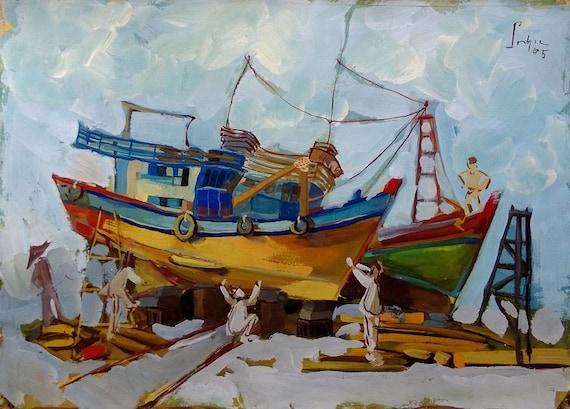 "DOCKYARD 20x16"" Gouache on Paper, Live Painting, Mekong Delta (Sông Đốc, Cà Mau Province) Original by Nguyen Ly Phuong Ngoc"