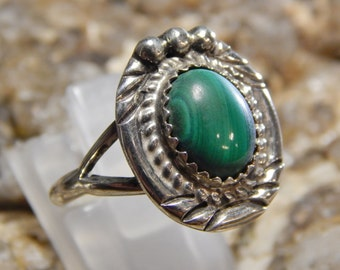 Native American Sterling Silver Malachite Ring
