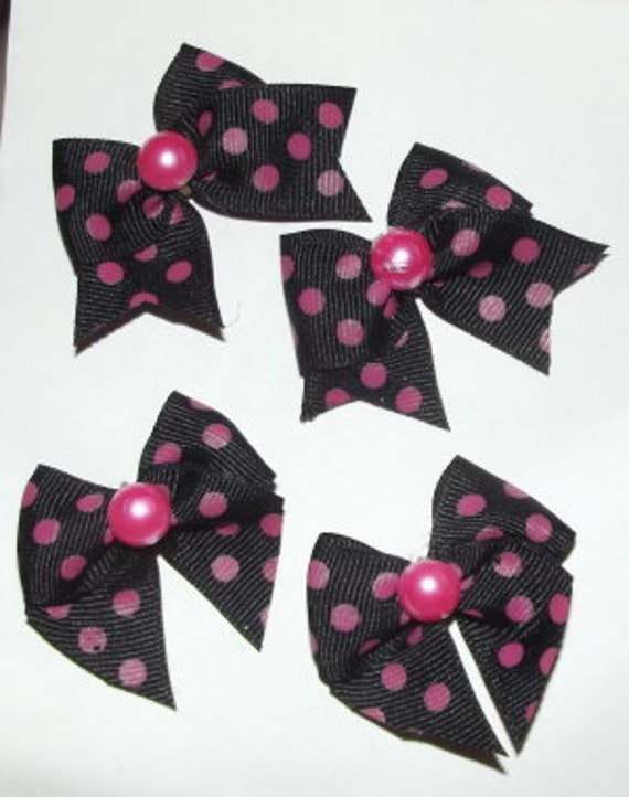 Puppy Bows Set of 4 black w/hot pink dots bows for dogs  (fb22)