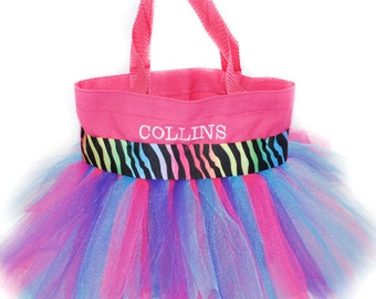 Fairy Tote Bag, Dance Bag, Multi Colored Zebra Ribbon With FREE Monogram Name, Personalized Girl Dance Bag, Fairy Bag, Ballet Bag