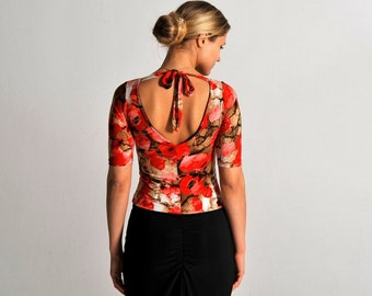 ANGEL poppy print top, XS-M